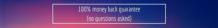 100 percent money back guarantee-no questions asked